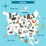 Beeldverhaalkaart van Eurasia continent met verschillende dieren royalty-vrije illustratie