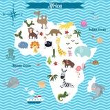 Beeldverhaalkaart van het continent van Afrika met verschillende dieren Stock Afbeeldingen