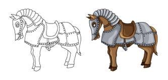 Beeldverhaalkarakter van oorlogspaard in de illustratie van het pantserkostuum op wit wordt geïsoleerd dat royalty-vrije stock afbeelding