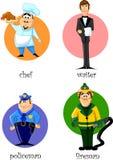 Beeldverhaalkarakters - chef-kok, politieagent, brandweerman, wai Stock Foto