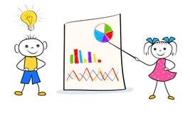Beeldverhaalkarakters met innovatief idee voor probleemoplossing na brainstorming tijdens bedrijfspresentatie royalty-vrije illustratie