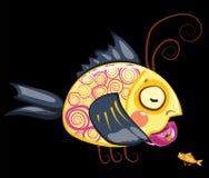 Beeldverhaalkarakters, thee het drinken vissen Stock Foto
