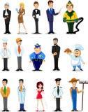 Beeldverhaalkarakters van verschillende beroepen Stock Afbeeldingen