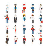 Beeldverhaalkarakters van verschillende beroepen Stock Foto