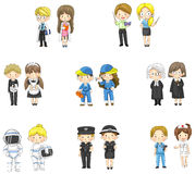 Beeldverhaalkarakters in zowel de mens als vrouw in variou Royalty-vrije Stock Foto's