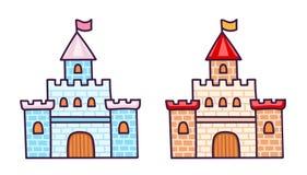 Beeldverhaalkastelen voor weinig prinses royalty-vrije illustratie