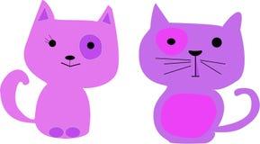 Beeldverhaalkatten Vectorillustratieart. Royalty-vrije Stock Afbeeldingen