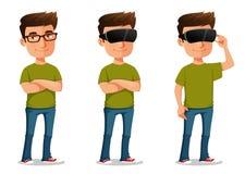 Beeldverhaalkerel die virtuele werkelijkheidsglazen gebruiken Royalty-vrije Stock Afbeelding