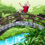 Beeldverhaalkerel met een rugzak, die rond op de decoratieve brug in het park voor de gek houden Royalty-vrije Stock Afbeelding