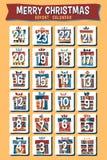 Beeldverhaalkerstmis Advent Calendar Stock Afbeeldingen