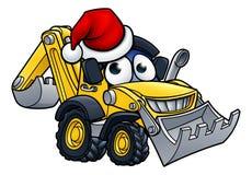 Beeldverhaalkerstmis Digger Bulldozer Character stock illustratie