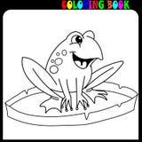 Beeldverhaalkikker op leliestootkussen bij pagina's van het meer de kleurende boek royalty-vrije stock foto's