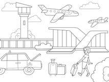 Beeldverhaalkinderen die boekluchthaven kleuren Zwart-witte vector royalty-vrije illustratie