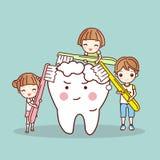 Beeldverhaalkinderen die witte tand borstelen royalty-vrije illustratie
