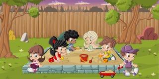 Beeldverhaalkinderen het spelen Royalty-vrije Stock Foto