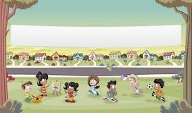 Beeldverhaalkinderen het spelen Sporten en speelgoed Stock Foto's