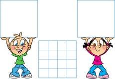 Beeldverhaalkinderen met banners vector illustratie