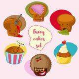 Beeldverhaalkleur met zes cupcakes met emoties wordt geplaatst die Stock Afbeeldingen