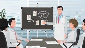Beeldverhaalkliniek/Mens arts op de vergadering stock videobeelden