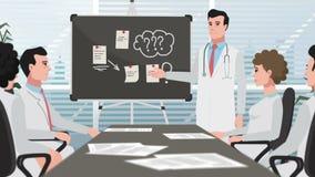 Beeldverhaalkliniek/Mens op medische vergadering stock video