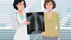 Beeldverhaalkliniek/Röntgenstraal van de patiëntenborst stock videobeelden
