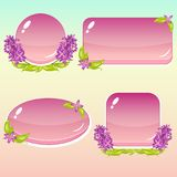 Beeldverhaalknopen met Bloemen en Bladeren voor GUI Royalty-vrije Stock Foto's