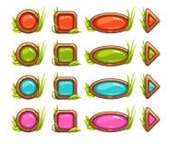 Beeldverhaalknopen met kleurrijk midden Stock Foto