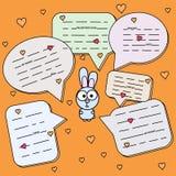 Beeldverhaalkonijn met de vectorillustratie van de praatjewolk Konijntje met sprekende bel Hazen bij oranje achtergrond Wild Dier vector illustratie