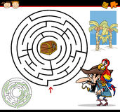 Beeldverhaallabyrint of labyrintspel Stock Afbeeldingen
