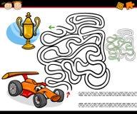 Beeldverhaallabyrint of labyrintspel Stock Foto