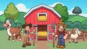 Beeldverhaallandbouwbedrijf met landbouwers, koe en geit stock illustratie
