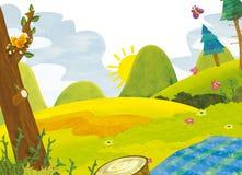 Beeldverhaallandschap - de zomer - illustratie voor de kinderen stock illustratie