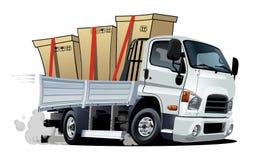 Beeldverhaallevering of ladingsvrachtwagen op witte achtergrond wordt ge?soleerd die vector illustratie