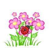 Beeldverhaallieveheersbeestje op roze bloemen royalty-vrije illustratie