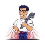 Beeldverhaalloodgieter die een grote moersleutel houden Stock Foto's