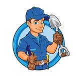 Beeldverhaalloodgieter die een grote schop houden Stock Fotografie