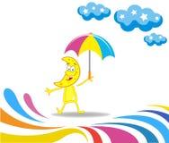 Beeldverhaalmaand met een paraplu Stock Fotografie