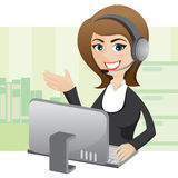 Beeldverhaalmeisje callcenter met computer Stock Fotografie