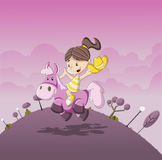 Beeldverhaalmeisje die een poney berijden Stock Fotografie