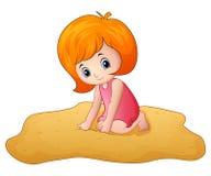 Beeldverhaalmeisje die een zand spelen stock illustratie