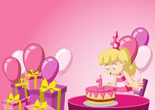 Beeldverhaalmeisje die pret hebben bij verjaardagspartij royalty-vrije illustratie