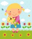 Beeldverhaalmeisje en teddy Royalty-vrije Stock Afbeeldingen