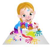 Beeldverhaalmeisje het Schilderen Stock Afbeelding