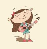 Beeldverhaalmeisje het spelen gitaar Stock Fotografie
