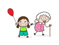 Beeldverhaalmeisje het Spelen met Grootmoeder Vectorillustratie royalty-vrije illustratie