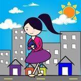 Beeldverhaalmeisje in stad Royalty-vrije Stock Foto