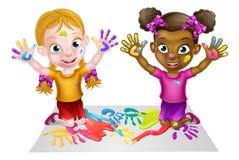 Beeldverhaalmeisjes het Schilderen Royalty-vrije Stock Afbeelding