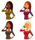 Beeldverhaalmeisjes met mobiele telefoon Stock Fotografie