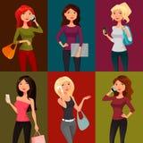 Beeldverhaalmeisjes met mobiele telefoons Royalty-vrije Stock Afbeeldingen