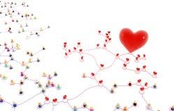 Beeldverhaalmenigte, Valentine Network Stock Fotografie
